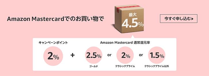 Amazon Mastercardでのお買い物で最大+4.5%