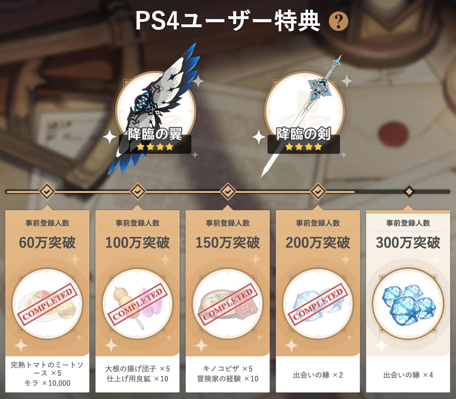 【原神】PS4版の事前登録特典