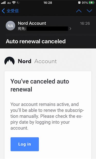 キャンセル後に上記のメールが届きます。