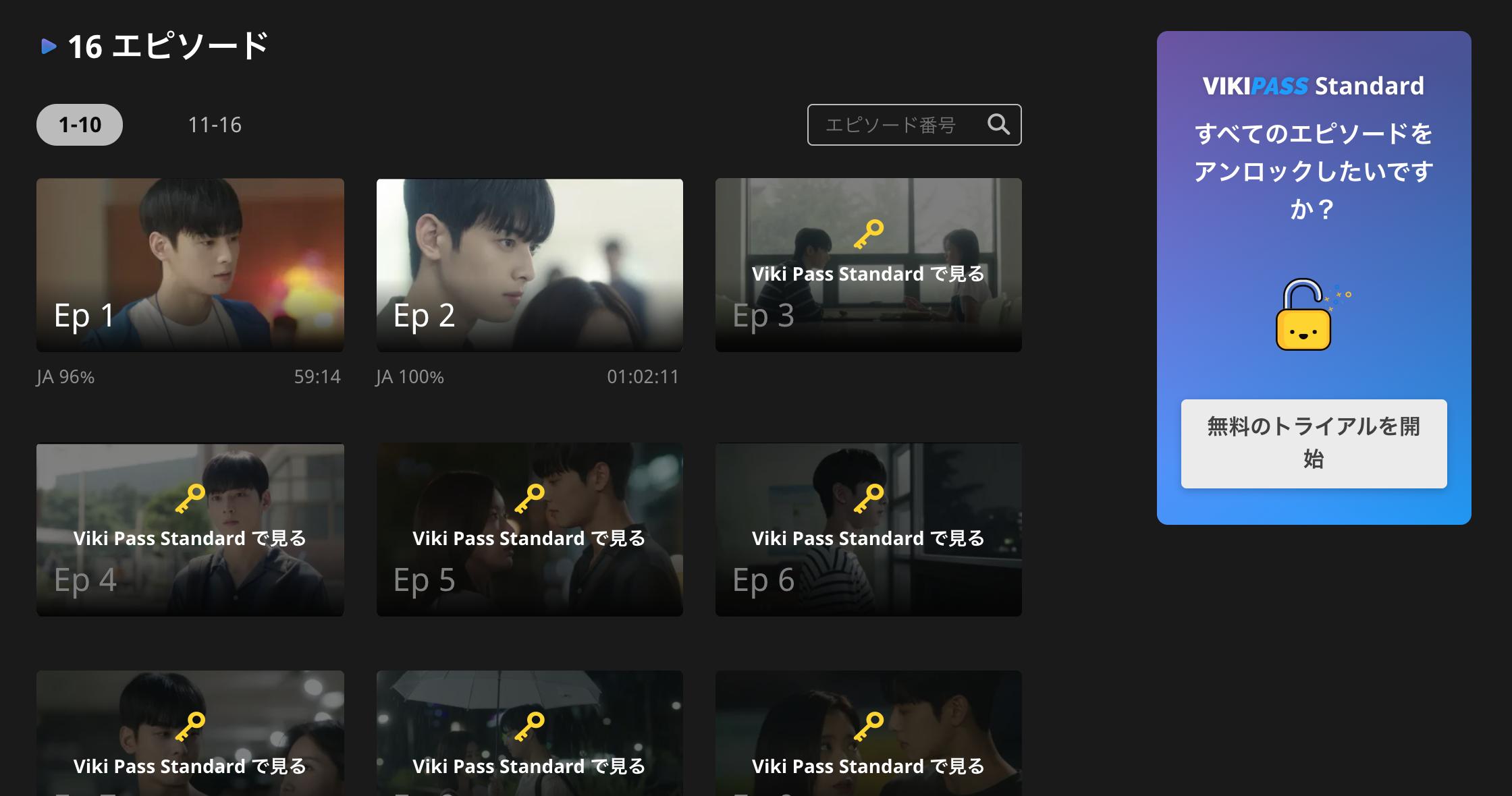 2話以降はviki pass standardで視聴可能!